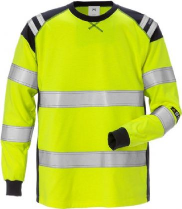 Fristads Flamestat Long Sleeve T-Shirt CL 3 7077 TFLH (Hi Vis Yellow/Navy)